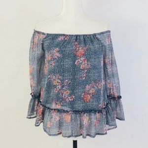 Lucky Brand Off The Shoulders Ruffled Print Top XS